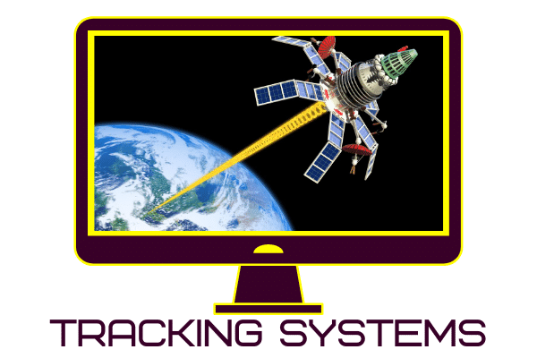 image of a satellite in space with a tracking beam
